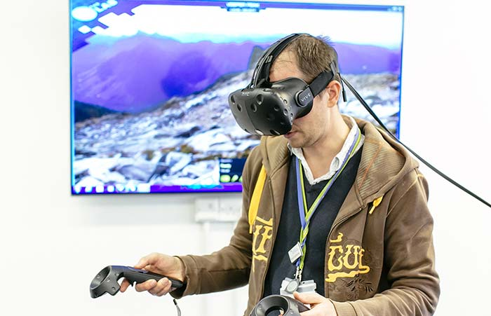 Image of student wearing a virtual reality headset