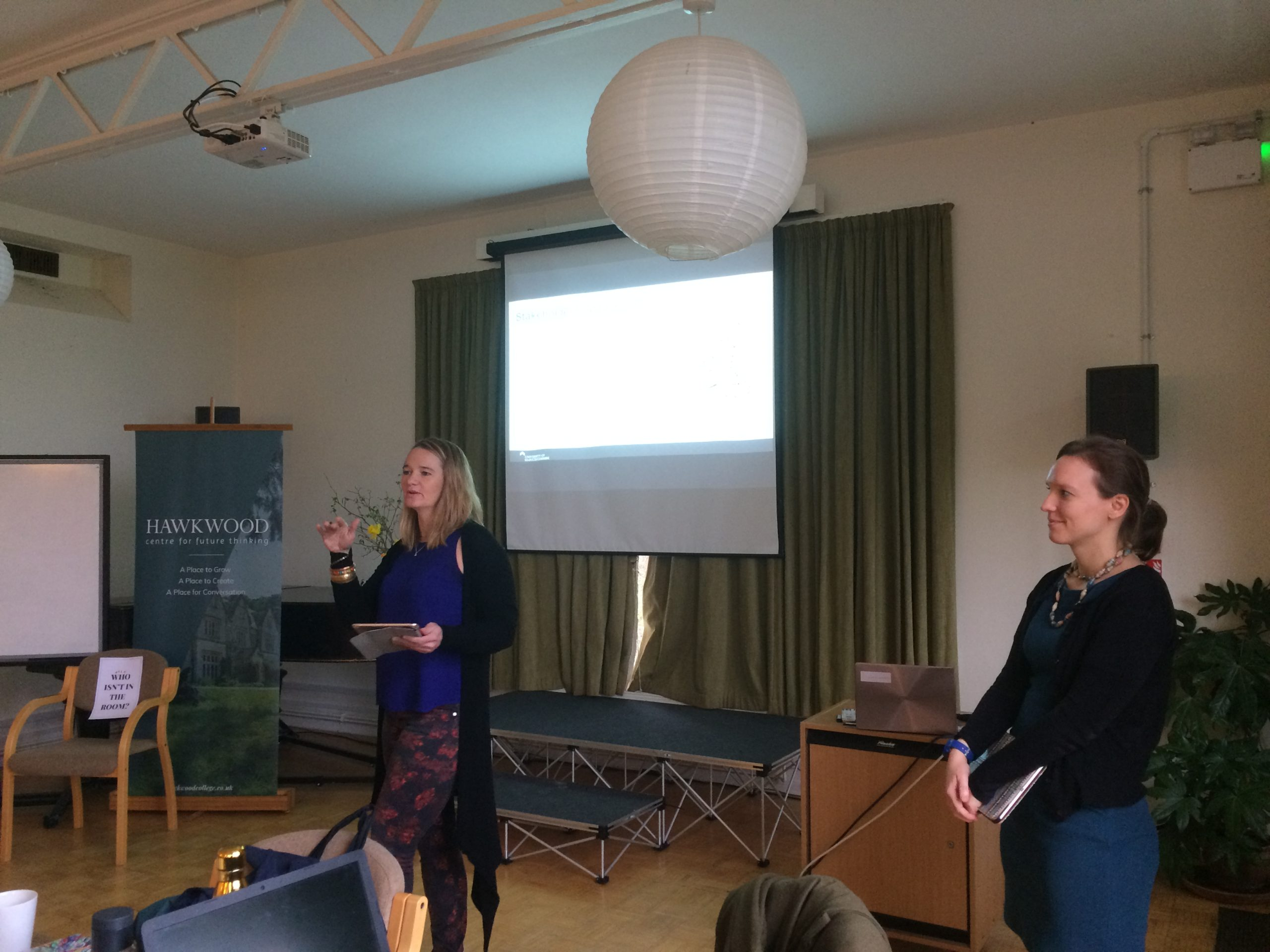 Yolande and Miriam presenting at the Hawkwood Climate Change lab